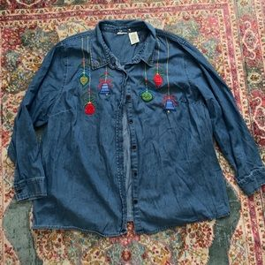 Denim Christmas shirt ugly Christmas sweater